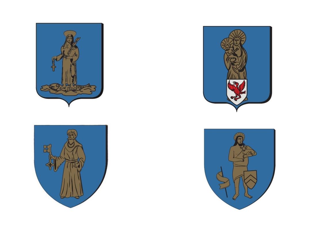 De 4 wapenschilden van de 4 dorpen in onze gemeente